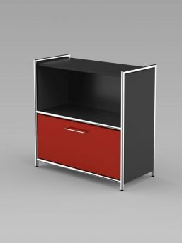 Sideboard_1_Schublade_anthrazit_rot