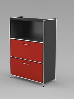 Highboard_2Schubladen_3OH_anthrazit_rot