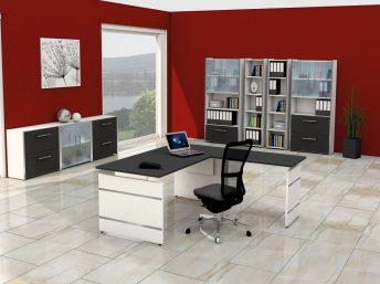 Winkel- Schreibtisch Neapel mit Wangengestell