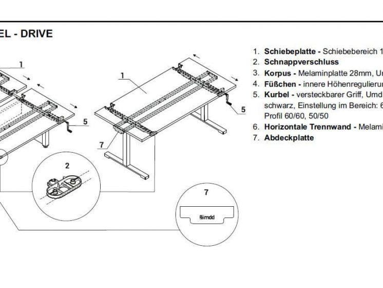 Schreibtisch Drive per Kurbel hoehenverstellbar