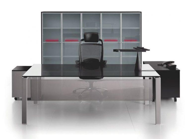 Schreibtisch mit Glasplatte Glider