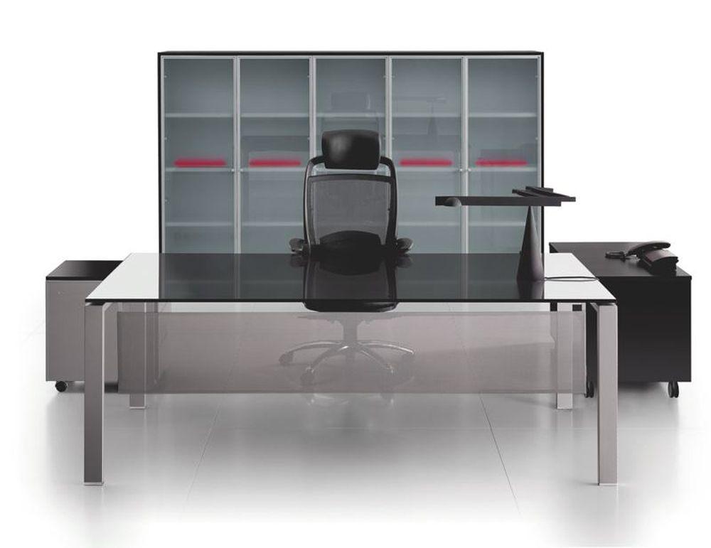 Glas- Schreibtisch GLIDER | Klassiker Direkt - Chefzimmer, Büromöbel ...