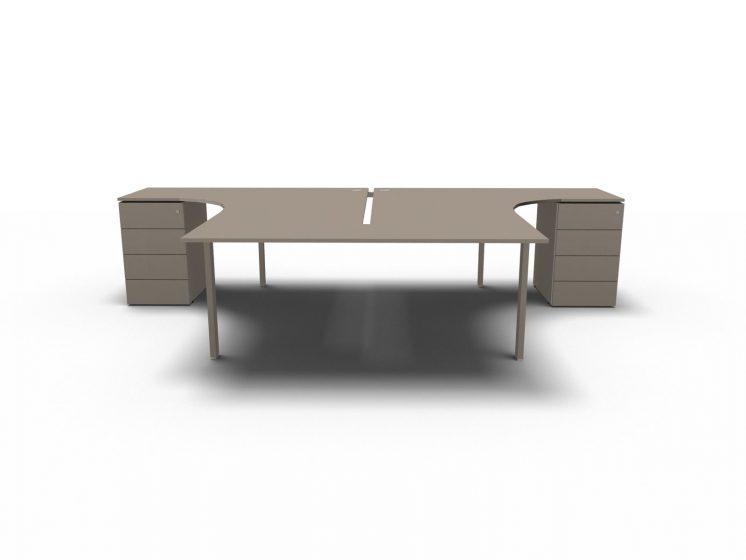 schreibtisch mit container glider f r 2 personen. Black Bedroom Furniture Sets. Home Design Ideas