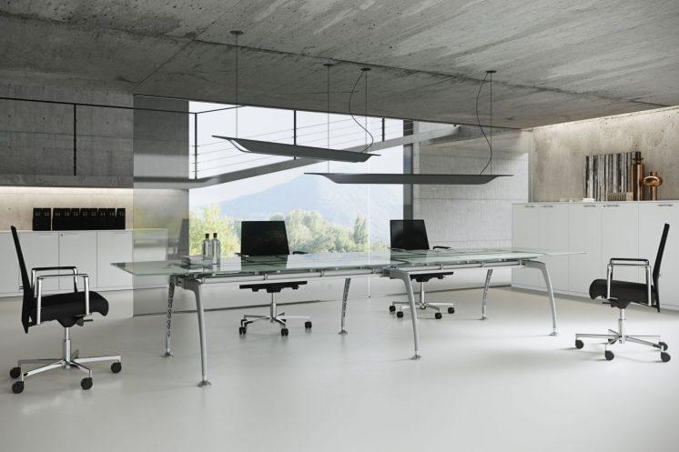 Konferenztisch Tiper mit Glasplatte