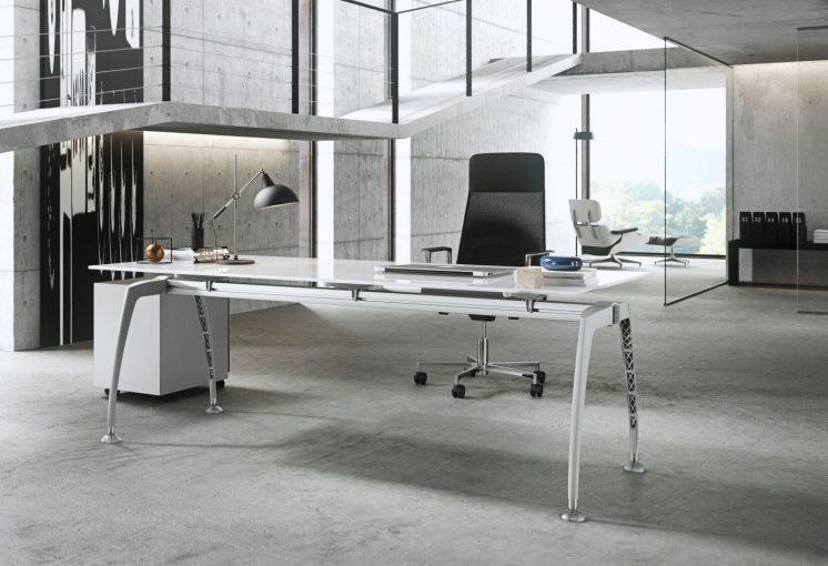 Schreibtisch mit Glasplatte Tiper