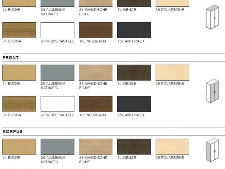 Garderobenschränke in verschiedenen dekoren