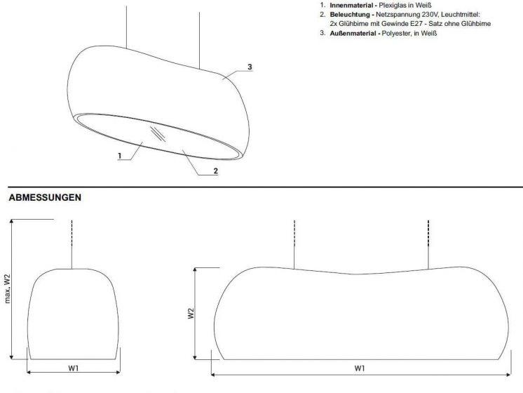 Lampe Canoe Technische Beschreibung