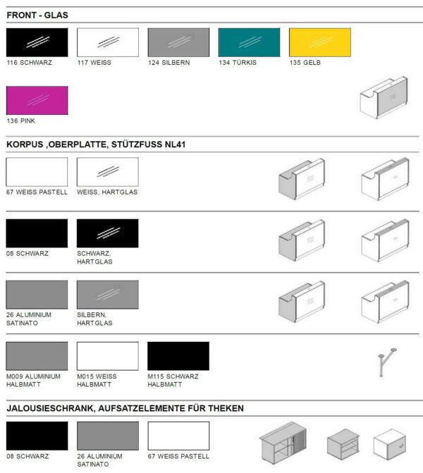 Empfangstheken-Deno-Farben