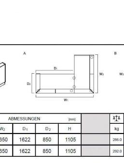 Empfangstheke-Deno-LIN39-Abmessungen