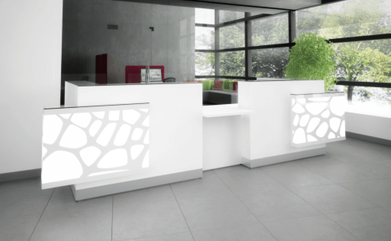 Design Rezeption Aqua mit LED Beleuchtung | Büromöbel