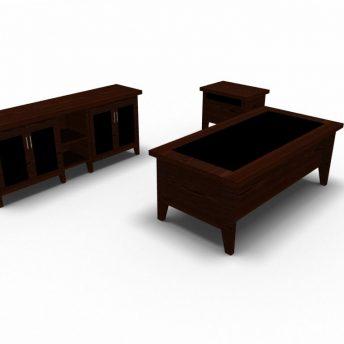 Chefbuero-Set-Schreibtisch-Beistelltisch-Sideboard