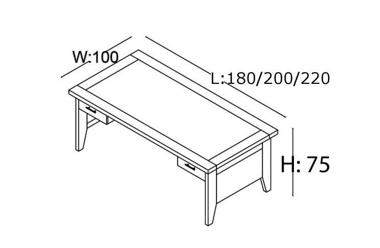Schreibtisch-Gamma- Abmessungen