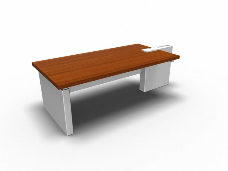 Schreibtisch-Cross-Haselnuss-Weiss