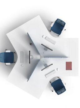 3-Personen-Schreibtisch-Winglet-Teamarbeitsplatz