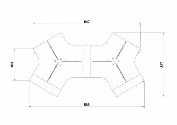6er-Arbeitsplatz-Winglet-Abmessungen