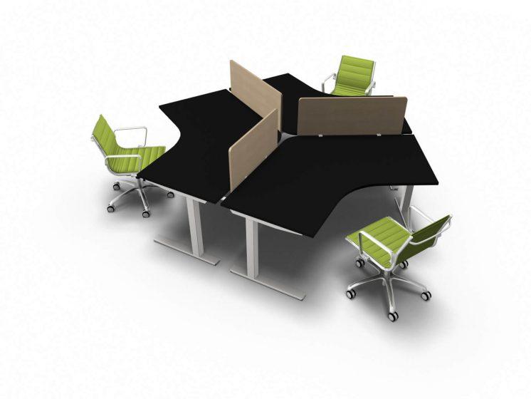 Teamarbeitsplatz-3-Personen-Schwarz