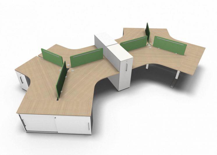 Teamarbeitsplatz-6-Personen-Tischplatten- Eiche-Natur