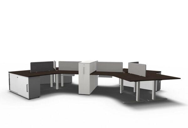 Teamarbeitsplatz-6-Personen-Tischplatten- Eiche-dunkel
