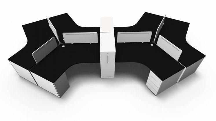 Teamarbeitsplatz-6-Personen-Tischplatten- Schwarz