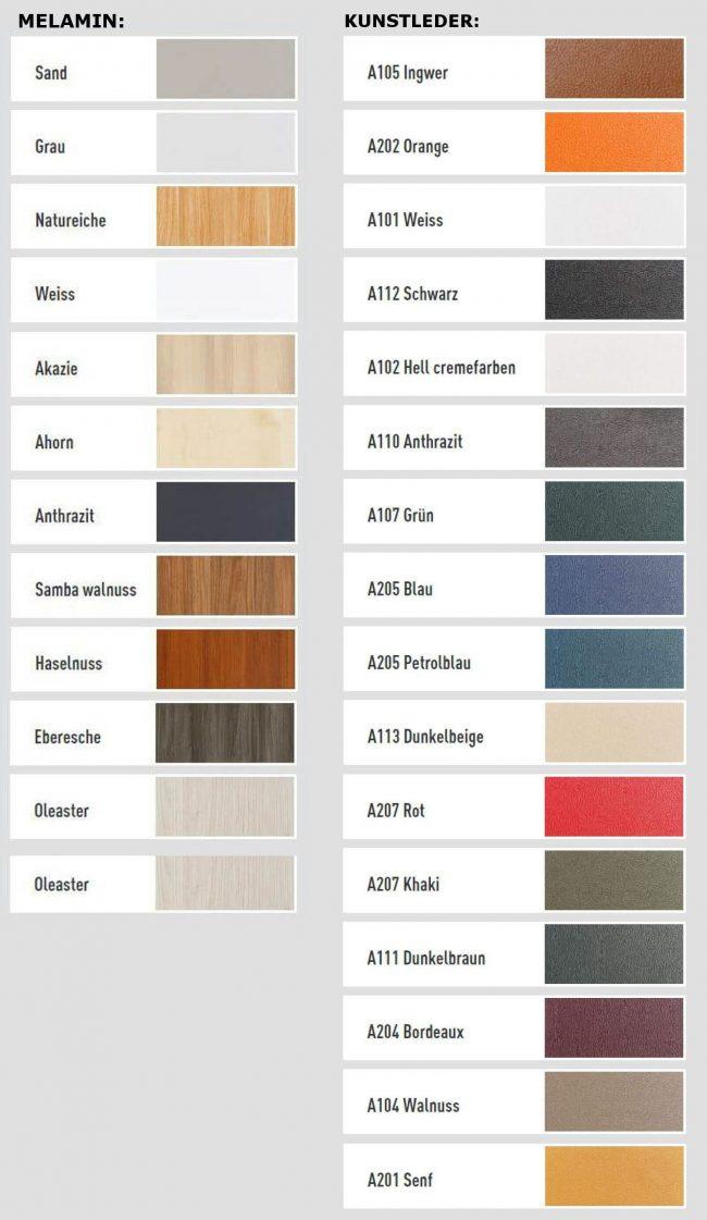 Bueromobel-Gamma-Farben