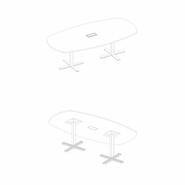 Konferenztisch-8 Personen-Winglet-Kreuzform-Gestell