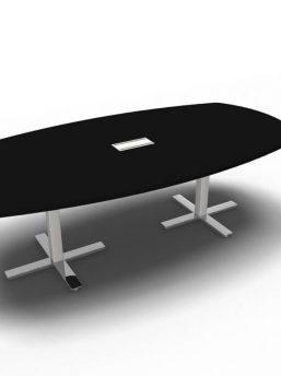 Konferenztisch-8 Personen-Winglet-Schwarz-Gestellfuesse-Chrom