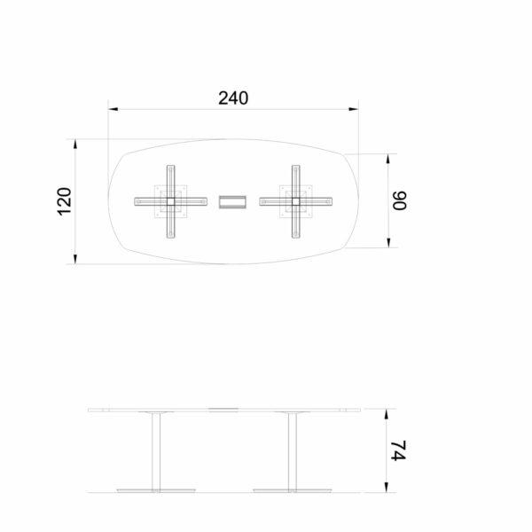 Konferenztisch-geformt-Winglet-Abmessungen