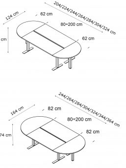 Ovaler-Konferenztisch-Winglet-Abmessungen