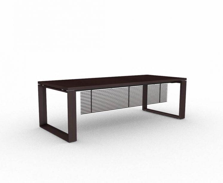 Schreibtisch-Arche-Echtholzfurnier-Wenge-mit-Knieraumblende-lamelliert