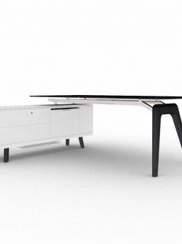 Schreibtisch- Rail-mit-Glaskeramikplatte
