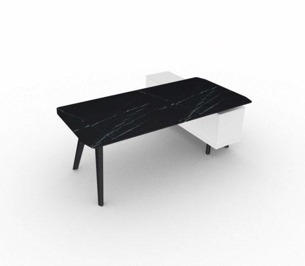 Schreibtisch- Rail-mit-Glaskeramikplatte-und-Sideboard