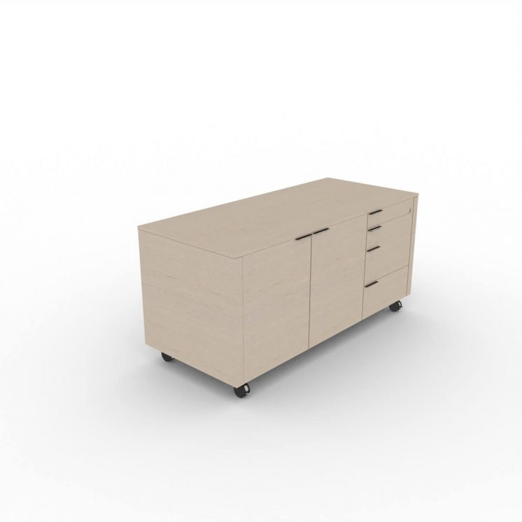 Rollcontainer-Metar-Ausfuehrung A-Eiche-grau
