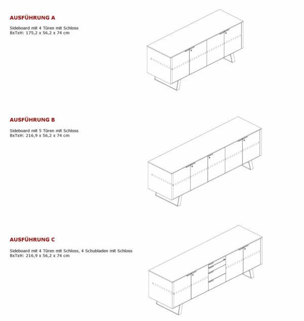 Sideboard-Metar-Ausfuehrungen