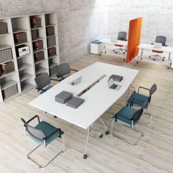 Konferenztisch-Klapptische-PFT-4xPFT02-weiss