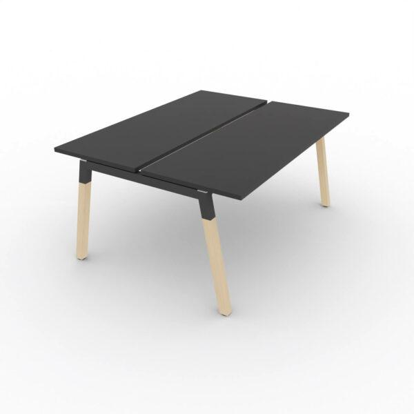 Doppelschreibtisch-Polare-Tischplatte-Schwarz