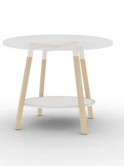 Hochtisch-rund-Holzbeine-Tischplatte-weiss