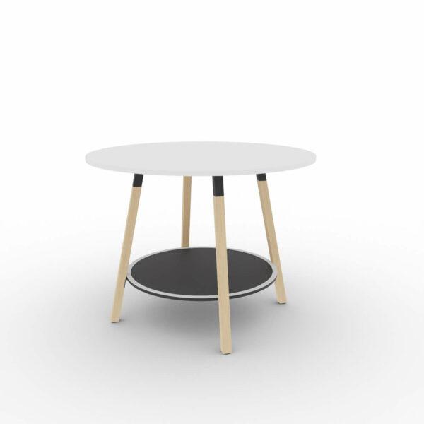 Hochtisch-rund-Holzbeine-Tischplatte-weiss-Metallteile-schwarz