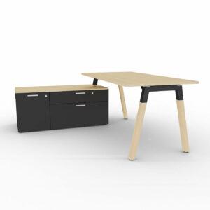 Schreibtisch-mit-Sideboard-Polare-Tischplatte-Eiche-natur-Sideboard-schwarz