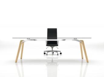 Glas- Schreibtisch Rail