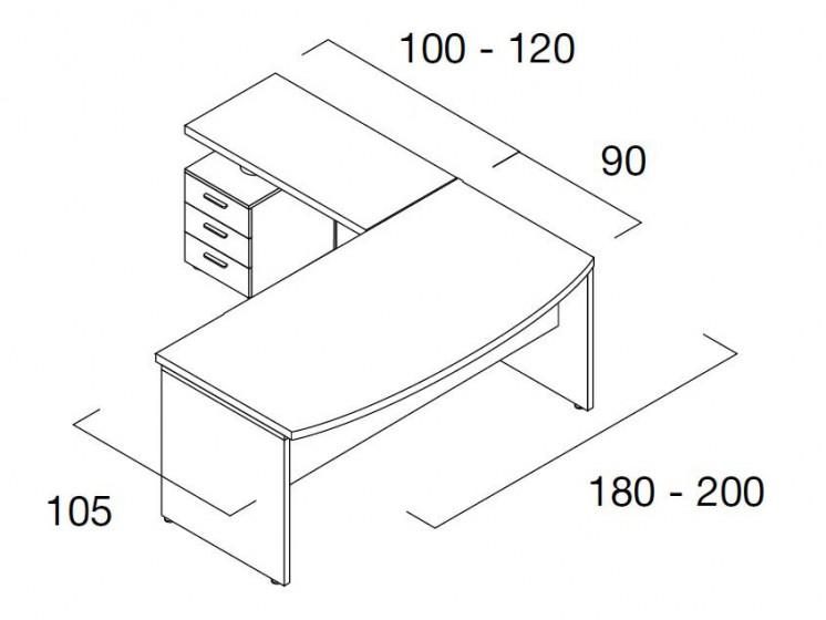 Schreibtisch Status mit Standcontainer 5