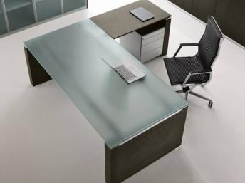 Glas- Schreibtisch JET mit Anbautisch