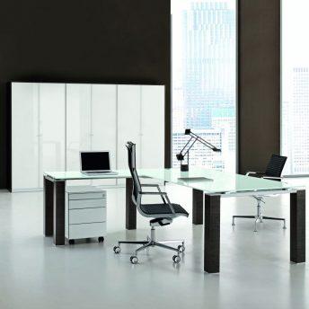 Winkel- Schreibtisch JET Glas