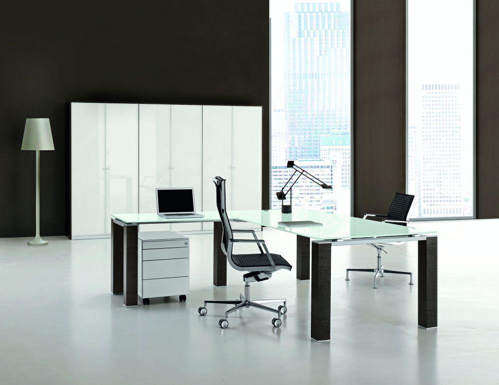 Winkel- Schreibtisch JET Glas | Klassiker Direkt - Chefzimmer ...